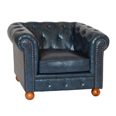 William Vintage Faux Leather Chair in Blue