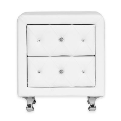 Baxton Studio Stella Crystal Tufted Upholstered Nightstand in White
