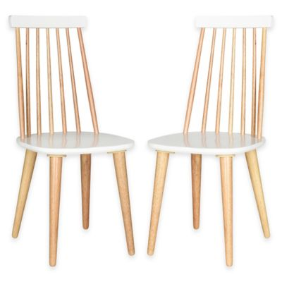 Safavieh Burris Side Chairs in Natural/White (Set of 2)