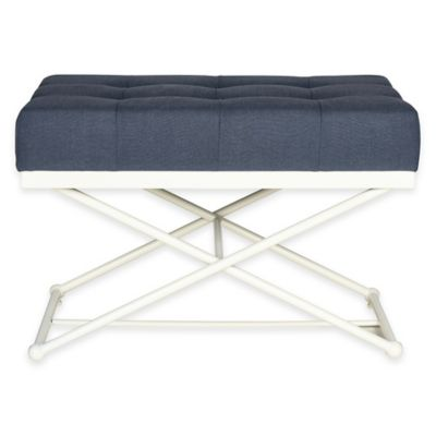 Safavieh Cara Bench in Navy Blue Linen