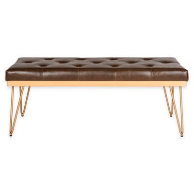Safavieh Marcella Bench in Brown/Gold