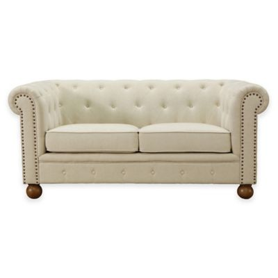 Dempsey Soft Linen Loveseat in Beige