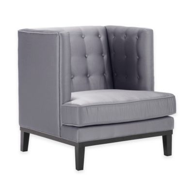 Roma Satin Button Tufted Arm Chair in Silver