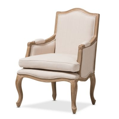 Baxton Studio Nivernais Wood Traditional French Accent Chair in Beige