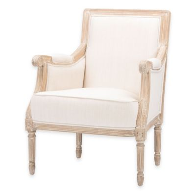 Baxton Studio Chavanon Linen Traditional French Accent Chair in Light Beige