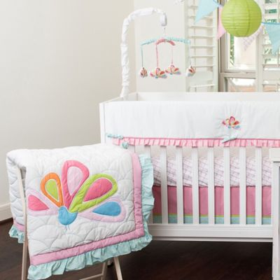 Pam Grace Creations Aqua Peacock 10-Piece Crib Bedding Set