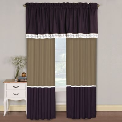 August 84-Inch Window Panel Pair in Plum/Tan