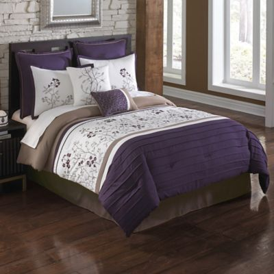 August 8-Piece King Comforter Set in Plum/Tan