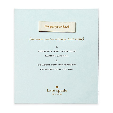 Kate Spade New York Quot I Ve Got Your Back Quot Keepsake Sew In