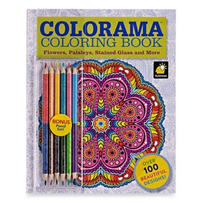 Colorama™ Flowers, Paisleys, Stained Glass and More Coloring Book with Colored Pencils