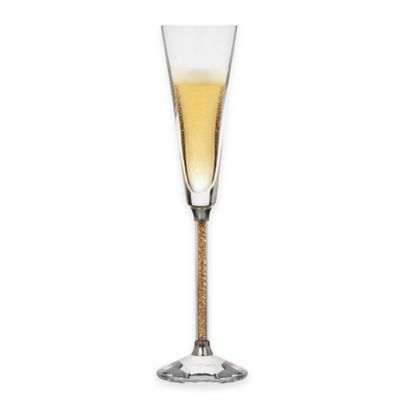 Oleg Cassini Crystal Diamond Gold Toasting Flutes (Set of 2)