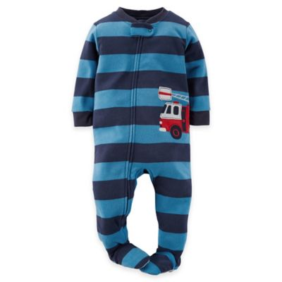 Carter's® Size 12M Fire Truck Striped Footed Pajama in Blue