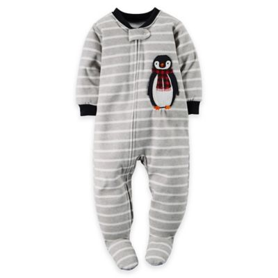 carter's® Size 24M Penguin Striped Footed Pajama in Grey