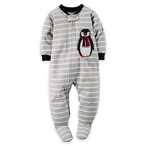 Buy Carter S 174 Penguin Striped Footed Pajama In Grey From