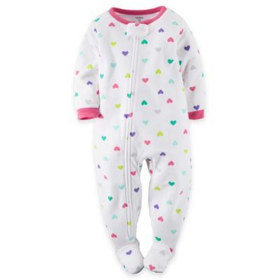 Carter's® Size 3T Colored Hearts Footed Pajama in White