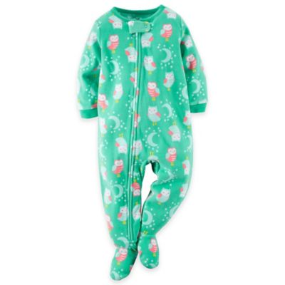 Carter's® Size 12M Sleeping Owl Footed Pajama in Green