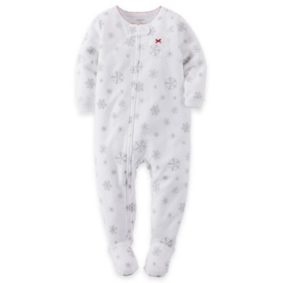 carter's® Size 24M Snowflake Fleece Footed Pajama in White
