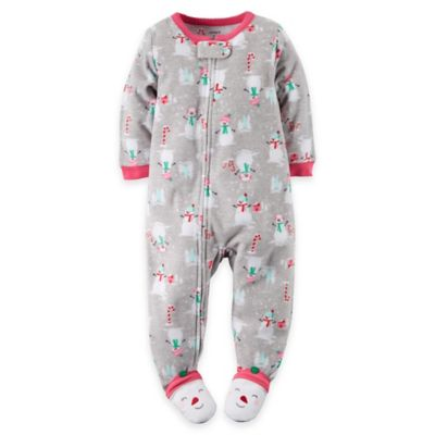 carter's® Size 24M Snowman Fleece Footed Pajama in Grey