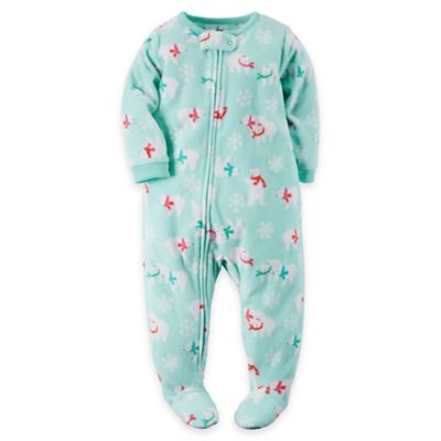carter's® Size 18M Playful Polar Bears Fleece Footed Pajama in Mint