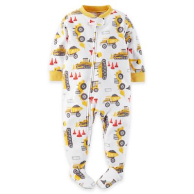 Carter's® Size 3T Construction Zone Footed Pajama in White