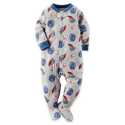 Carter's® Size 12M Baseball Theme Footed Pajama in Grey