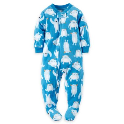 carter's® Size 18M Abominable Snowman and Yeti Fleece Footed Pajama in Blue