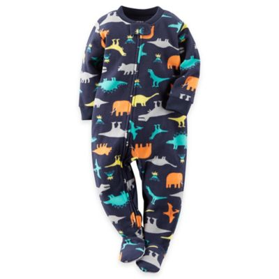 Size 12M Dinosaur Footed Pajamas in Navy
