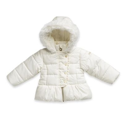 Pistachio Size 18M Jacquard Dot Puffer Jacket in Ivory/Gold