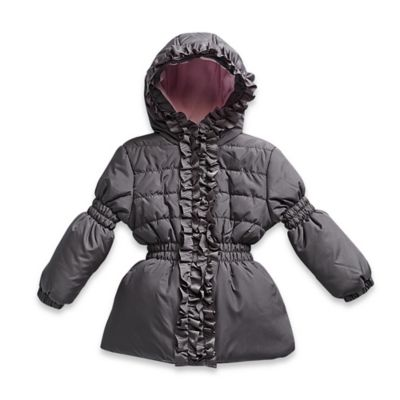 Pink Platinum Size 4T Puffer Jacket with Ruffle Trim in Grey