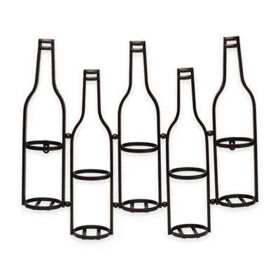 Metal Wall Wine Bottle Holder in Black