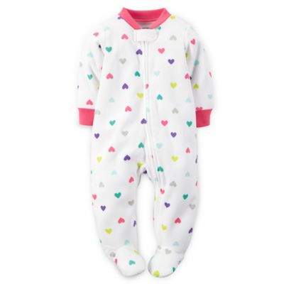 Carter's® Size 9M Multicolor Hearts Microfleece Zip-Front Footie in White/Pink