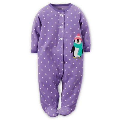 Carter's® Size 6M Snap-Front Penguin Dot Microfleece Footie in Purple/White