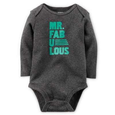 "Carter's® Size 3M ""Mr. Fabulous"" Long-Sleeve Bodysuit in Grey"