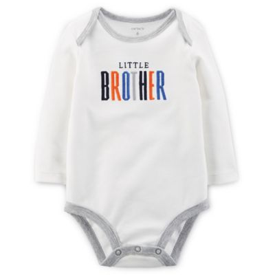 "Carter's® Size 3M ""Little Brother"" Long-Sleeve Bodysuit in Ivory"
