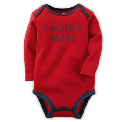 "Carter's® Size 3M ""Ladies Man"" Long-Sleeve Bodysuit in Red"