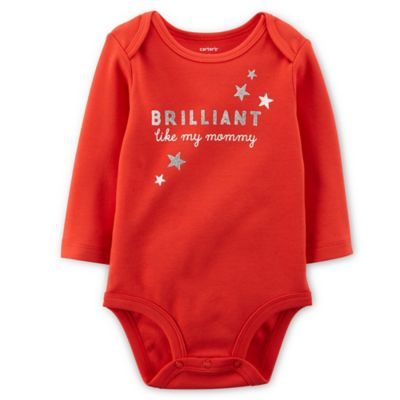 "Carter's® Size 3M ""Brilliant Like My Mommy"" Long-Sleeve Bodysuit in Red"