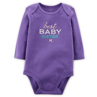 "Carter's® Size Newborn ""Best Baby Sister"" Long-Sleeve Bodysuit in Purple"