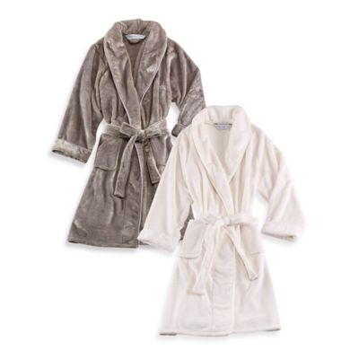 Wamsutta® Small/Medium Plush Robe in Grey