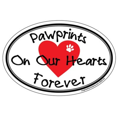"""Paw Prints On Our Hearts"" Oval Pet Magnet"