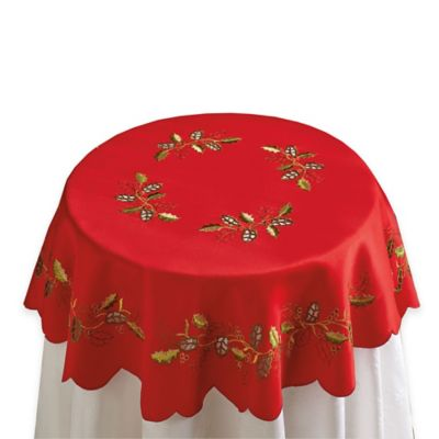Embroidered Holly Cutwork Round Topper in Red