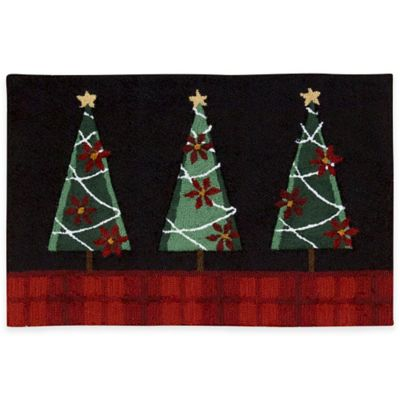 Nourison™ Handhook Holiday1-Foot 8-Inch x 2-Foot 6-Inch Three Trees Kitchen Rug in Black
