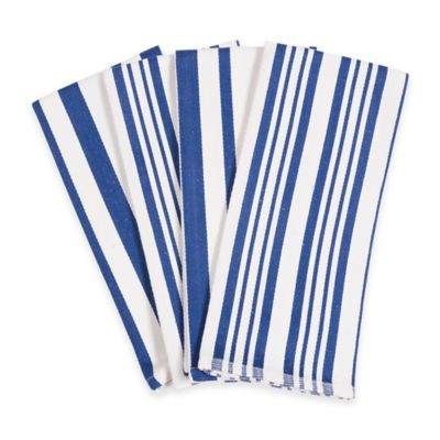 Hanukkah Striped Kitchen Towels in Blue/White (Set of 4)