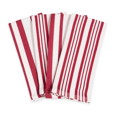 Candy Cane Striped Kitchen Towels in Red/White (Set of 4)