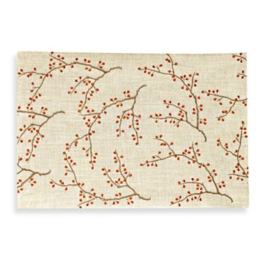 Jabara Embroidered Fall Leaves Placemat in Natural