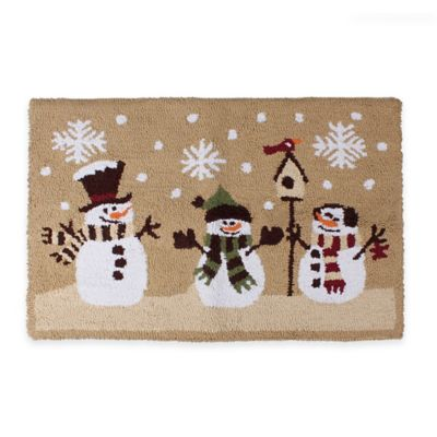 Heartland Snowman 1 Foot 6-Inch x 2 Foot 5-Inch Kitchen Rug in Natural