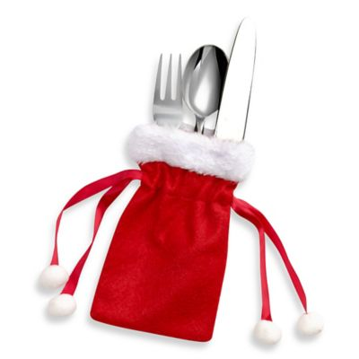 Santa Bag Utensil Holders in Red/White (Set of 4)