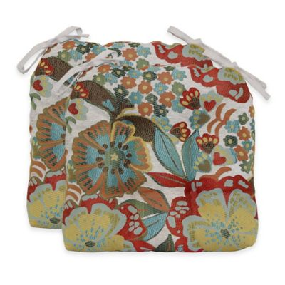 Molly Flowers Waterfall Chair Pads in Sunshine (Set of 2)