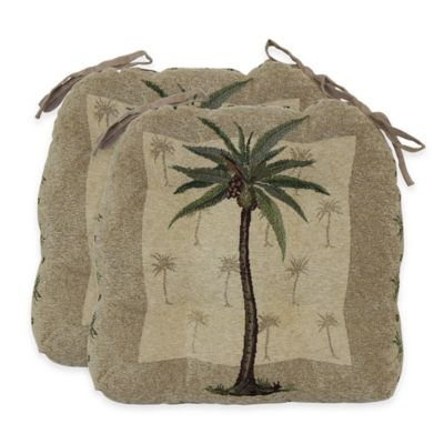 Palm Tree Waterfall Chair Pads in Amber (Set of 2)