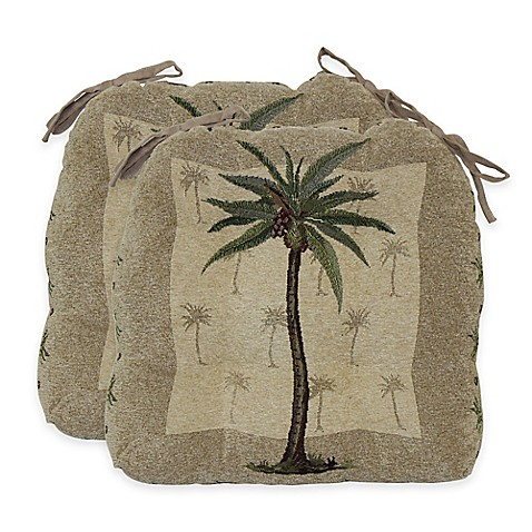 Palm Tree Waterfall Chair Pads In Amber Set Of 2 Bed
