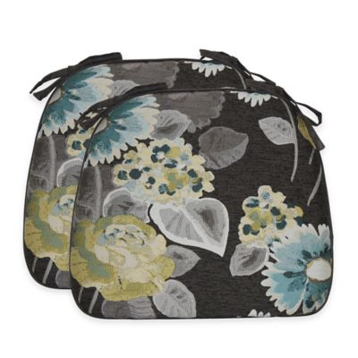 Leoni Floral Chair Pads in Breeze (Set of 2)